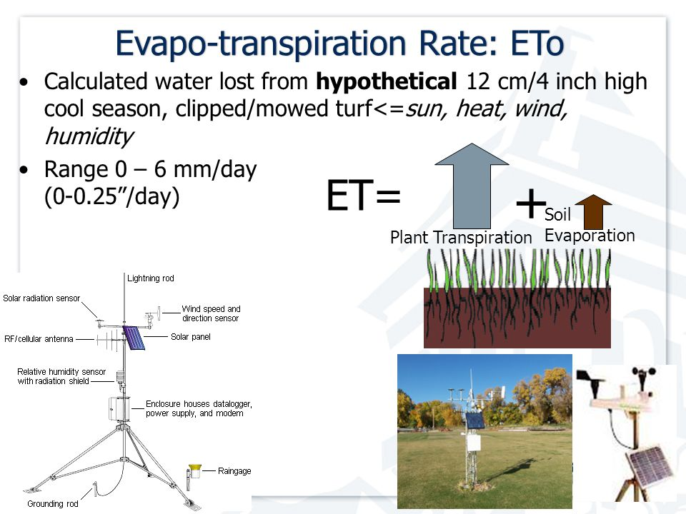 Evapo-transpiration Rate: EToEvapo-transpiration Rate: ETo Calculated water lost from hypothetical 12 cm/4 inch high cool season, clipped/mowed turf<=sun, heat, wind, humidity Range 0 – 6 mm/day (0-0.25 /day) Plant Transpiration Soil Evaporation + ET=