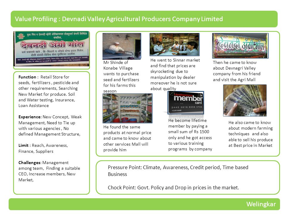 Value Profiling : Devnadi Valley Agricultural Producers Company Limited Function : Retail Store for seeds, fertilizers, pesticide and other requirements, Searching New Market for produce.