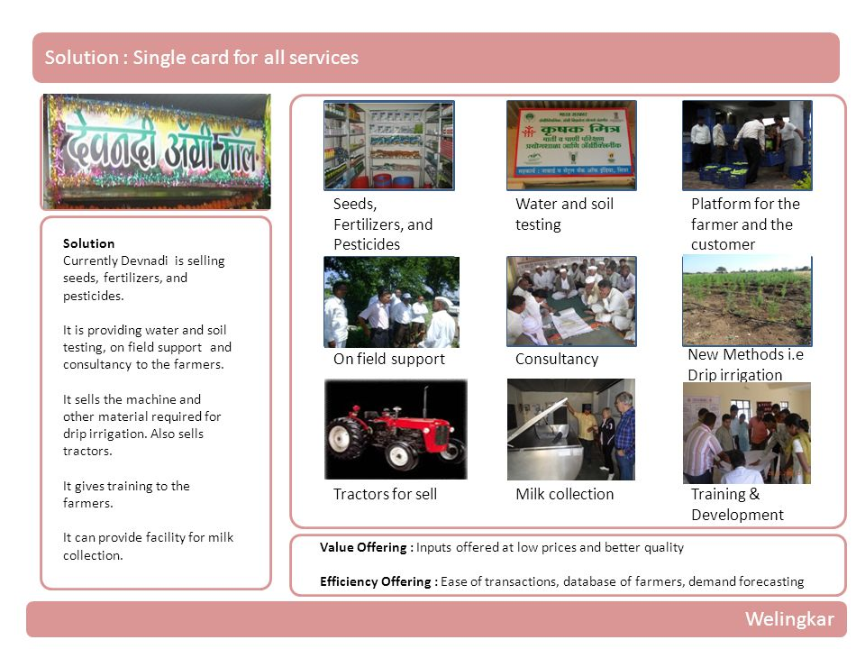 Solution : Single card for all services Solution Currently Devnadi is selling seeds, fertilizers, and pesticides.