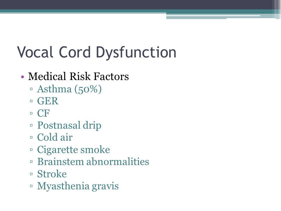 Vocal Cord Dysfunction Medical Risk Factors ▫Asthma (50%) ▫GER ▫CF ▫Postnasal drip ▫Cold air ▫Cigarette smoke ▫Brainstem abnormalities ▫Stroke ▫Myasth