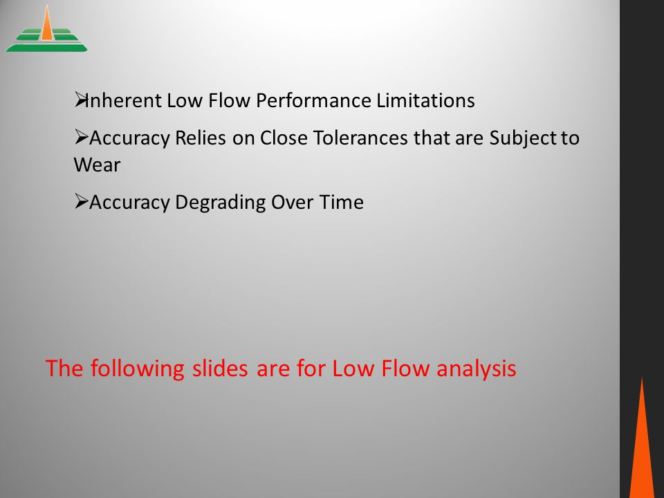  Inherent Low Flow Performance Limitations  Accuracy Relies on Close Tolerances that are Subject to Wear  Accuracy Degrading Over Time The followin