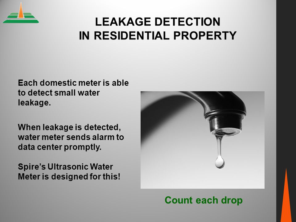 LEAKAGE DETECTION IN RESIDENTIAL PROPERTY Each domestic meter is able to detect small water leakage. When leakage is detected, water meter sends alarm