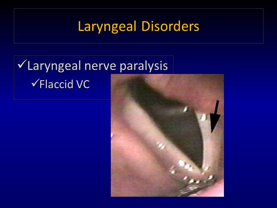 Laryngeal Disorders Laryngeal nerve paralysis Flaccid VC Laryngeal nerve paralysis Flaccid VC