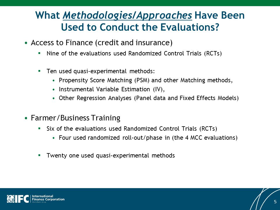 What Methodologies/Approaches Have Been Used to Conduct the Evaluations? Access to Finance (credit and insurance)  Nine of the evaluations used Rando