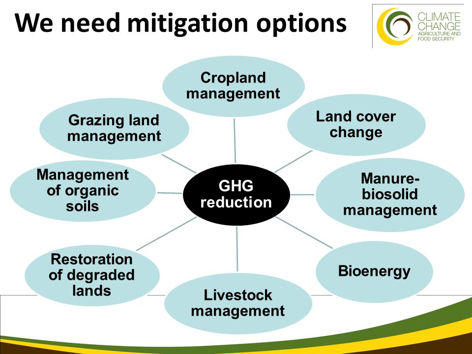 We need mitigation options GHG reduction Cropland management Land cover change Manure- biosolid management Bioenergy Livestock management Restoration of degraded lands Management of organic soils Grazing land management