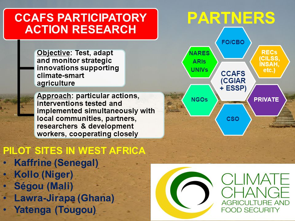 PARTNERS CCAFS (CGIAR + ESSP) FO/CBO RECs (CILSS, INSAH, etc.) PRIVATE CSONGOs NARES ARIs UNIVs CCAFS PARTICIPATORY ACTION RESEARCH Objective: Test, adapt and monitor strategic innovations supporting climate-smart agriculture Approach: particular actions, interventions tested and implemented simultaneously with local communities, partners, researchers & development workers, cooperating closely PILOT SITES IN WEST AFRICA Kaffrine (Senegal) Kollo (Niger) Ségou (Mali) Lawra-Jirapa (Ghana) Yatenga (Tougou)