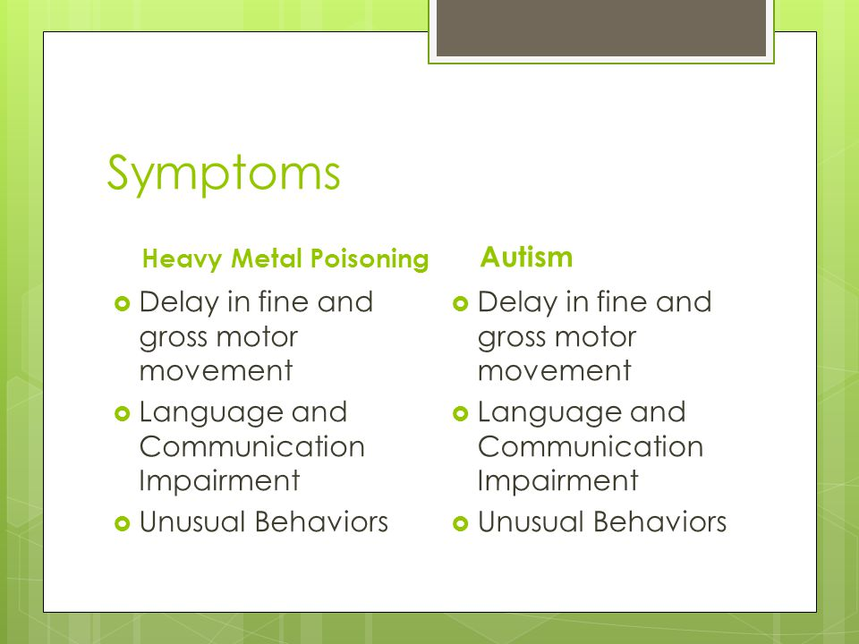 Symptoms Heavy Metal Poisoning  Delay in fine and gross motor movement  Language and Communication Impairment  Unusual Behaviors Autism  Delay in