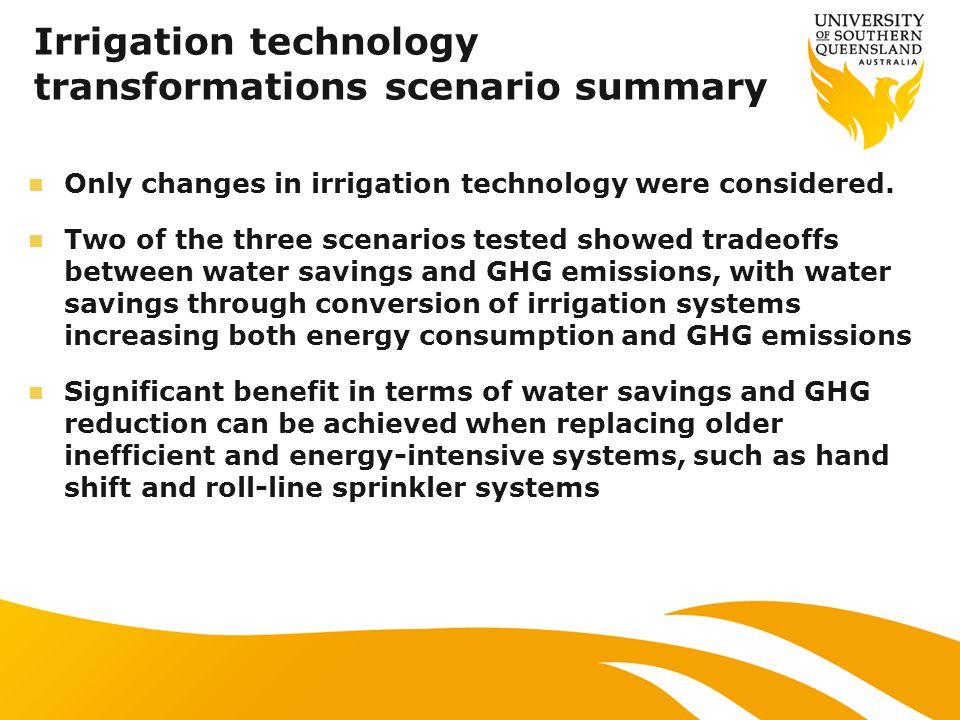 Irrigation technology transformations scenario summary Only changes in irrigation technology were considered.