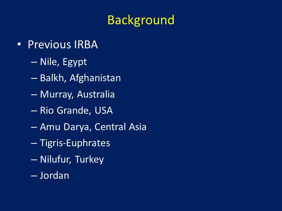 Background Previous IRBA – Nile, Egypt – Balkh, Afghanistan – Murray, Australia – Rio Grande, USA – Amu Darya, Central Asia – Tigris-Euphrates – Nilufur, Turkey – Jordan