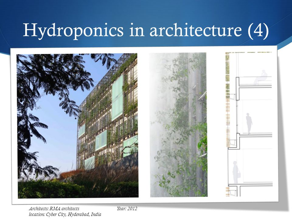 Hydroponics in architecture (4) Architects: RMA architectsYear: 2012 location: Cyber City, Hyderabad, India