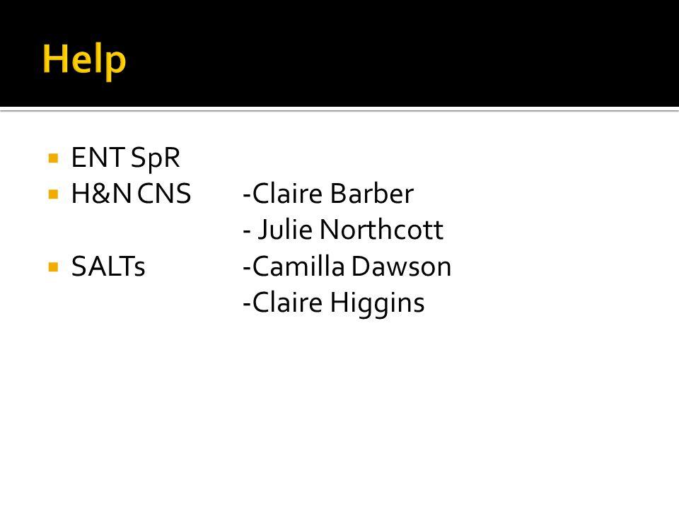  ENT SpR  H&N CNS-Claire Barber - Julie Northcott  SALTs-Camilla Dawson -Claire Higgins