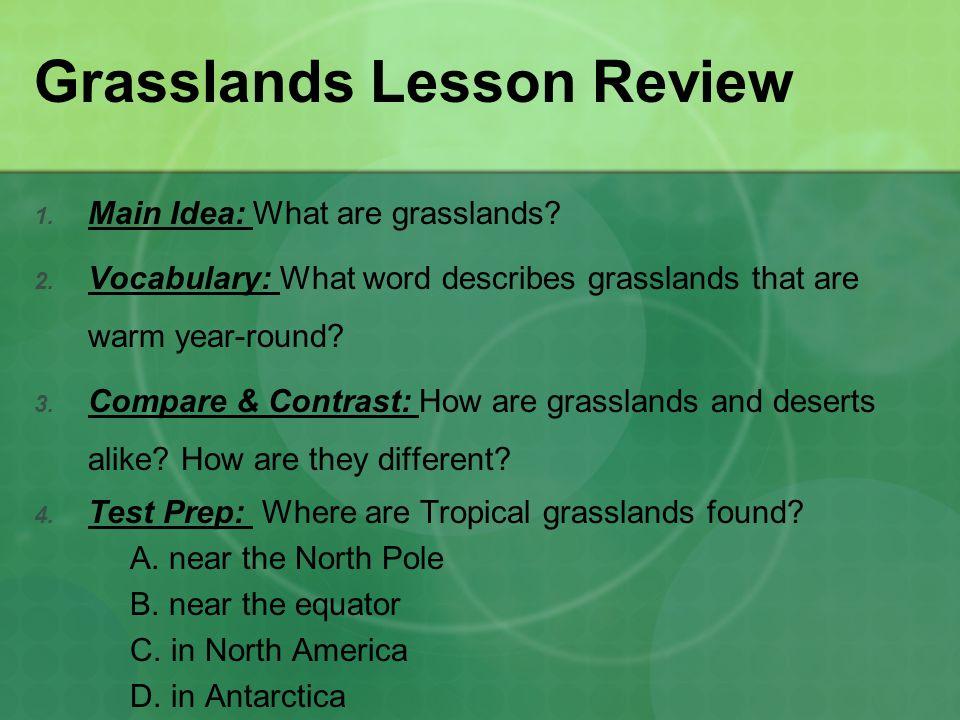 Grasslands Lesson Review 1.Main Idea: What are grasslands.