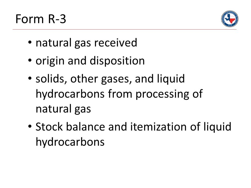 Form R-3 natural gas received origin and disposition solids, other gases, and liquid hydrocarbons from processing of natural gas Stock balance and ite