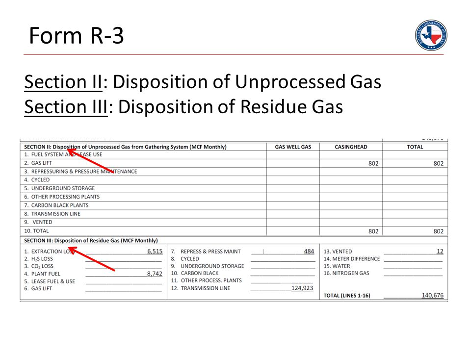 Form R-3 Section II: Disposition of Unprocessed Gas Section III: Disposition of Residue Gas