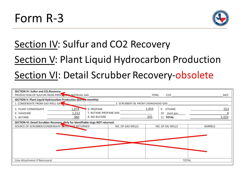 Form R-3 Section IV: Sulfur and CO2 Recovery Section V: Plant Liquid Hydrocarbon Production Section VI: Detail Scrubber Recovery-obsolete