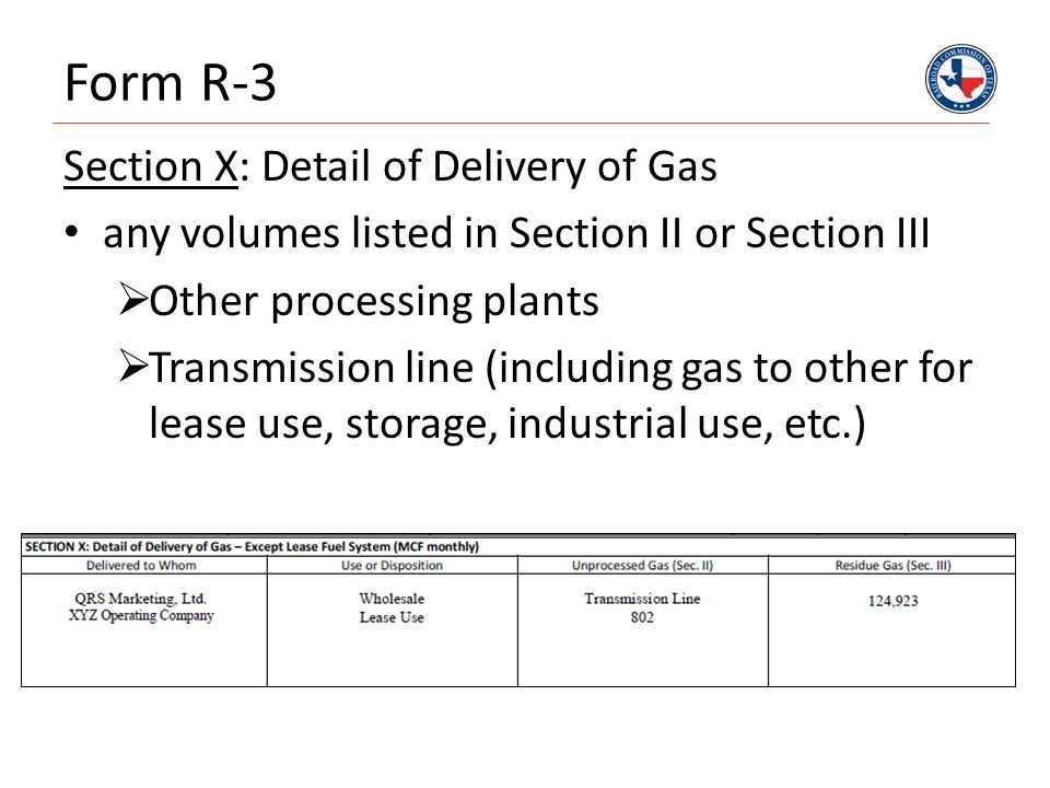 Form R-3 Section X: Detail of Delivery of Gas any volumes listed in Section II or Section III  Other processing plants  Transmission line (including gas to other for lease use, storage, industrial use, etc.)