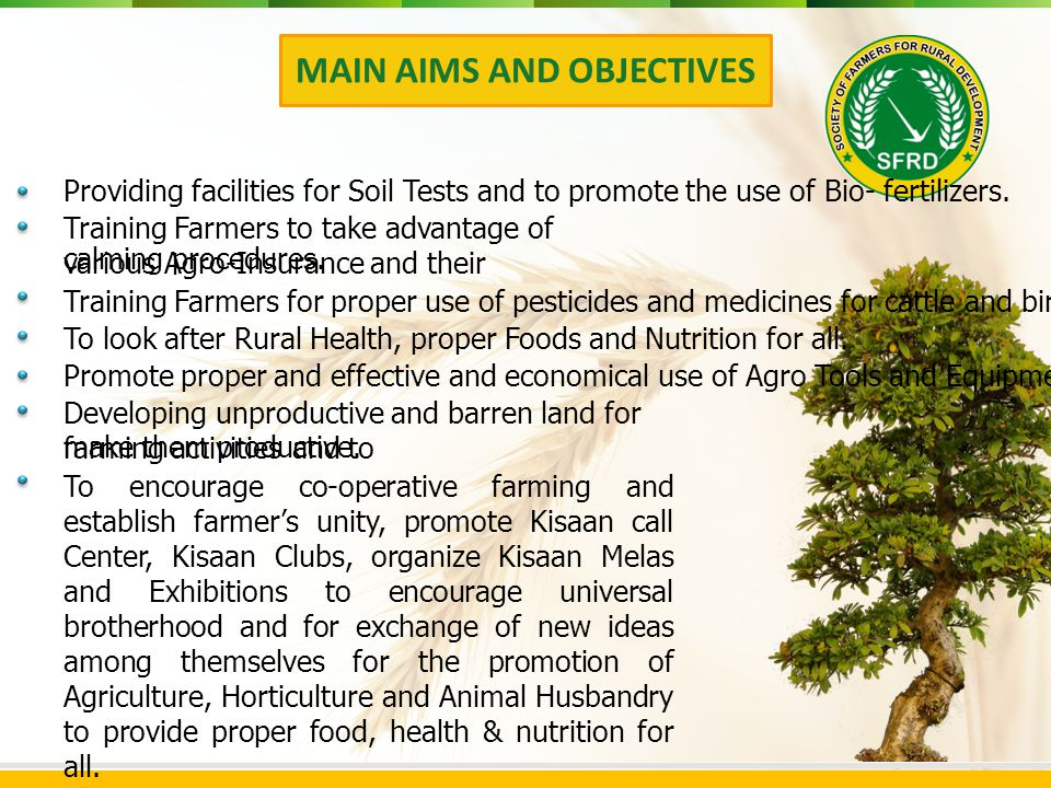 Providing facilities for Soil Tests and to promote the use of Bio- fertilizers.