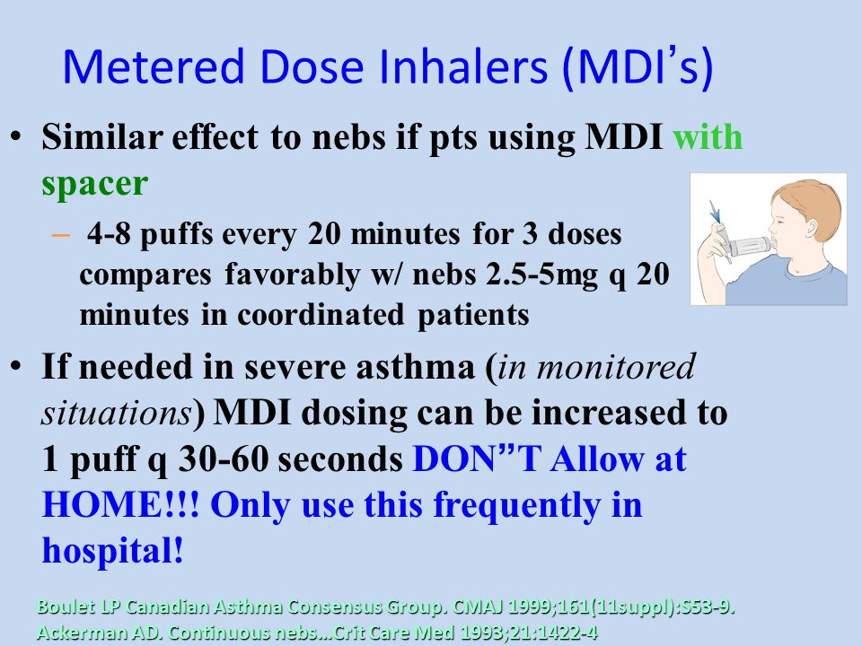 Metered Dose Inhalers (MDI ' s) Similar effect to nebs if pts using MDI with spacer – 4-8 puffs every 20 minutes for 3 doses compares favorably w/ neb