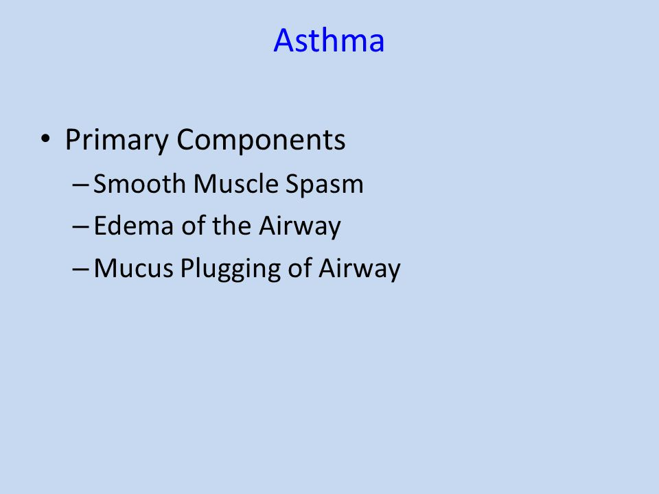 Asthma Primary Components – Smooth Muscle Spasm – Edema of the Airway – Mucus Plugging of Airway