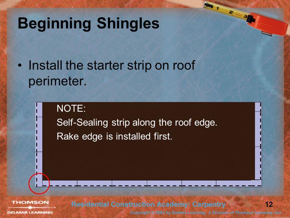 12 Beginning Shingles Install the starter strip on roof perimeter.