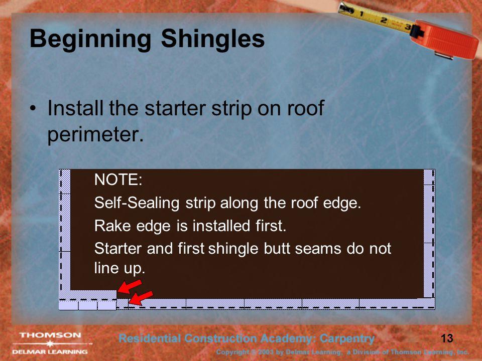13 Beginning Shingles Install the starter strip on roof perimeter. NOTE: Self-Sealing strip along the roof edge. Rake edge is installed first. Starter