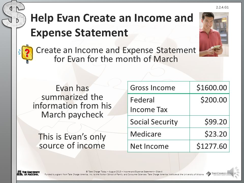 2.2.4.G1 © Take Charge Today – August 2013 – Income and Expense Statement – Slide 3 Funded by a grant from Take Charge America, Inc. to the Norton Sch
