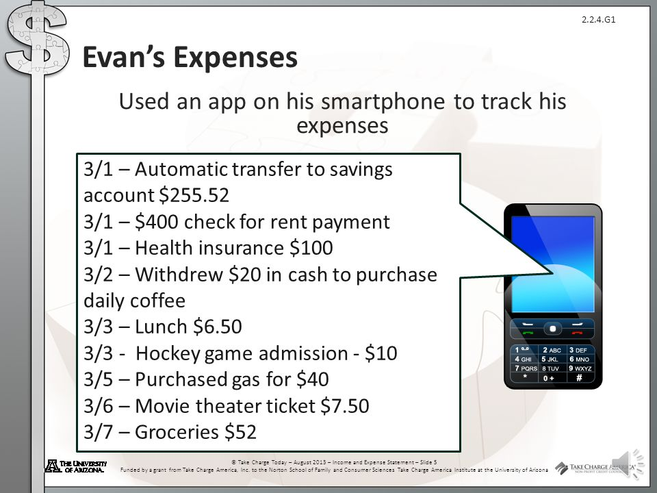 2.2.4.G1 © Take Charge Today – August 2013 – Income and Expense Statement – Slide 4 Funded by a grant from Take Charge America, Inc. to the Norton Sch