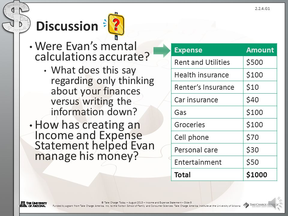 2.2.4.G1 © Take Charge Today – August 2013 – Income and Expense Statement – Slide 8 Funded by a grant from Take Charge America, Inc. to the Norton Sch