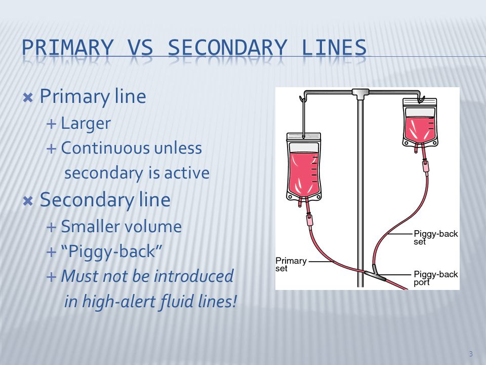  Primary line  Larger  Continuous unless secondary is active  Secondary line  Smaller volume  Piggy-back  Must not be introduced in high-alert fluid lines.