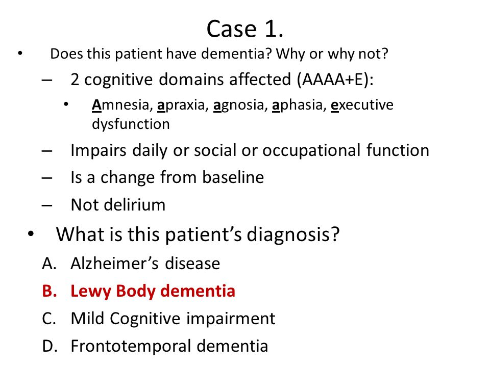 Case 1.Does this patient have dementia. Why or why not.