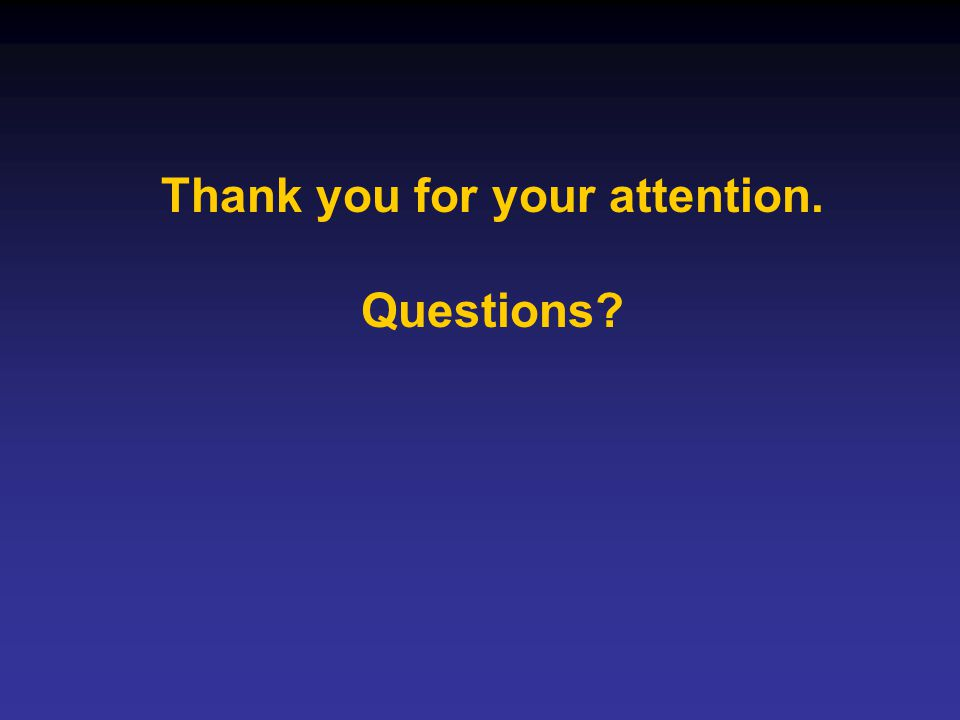 Thank you for your attention. Questions?