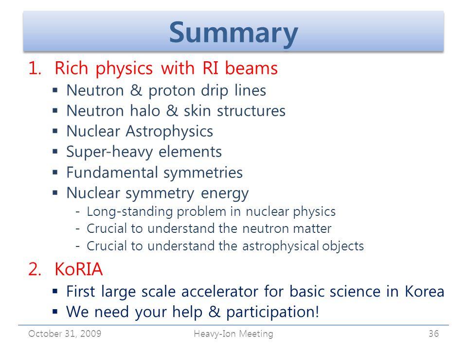 Summary 1. Rich physics with RI beams  Neutron & proton drip lines  Neutron halo & skin structures  Nuclear Astrophysics  Super-heavy elements  F