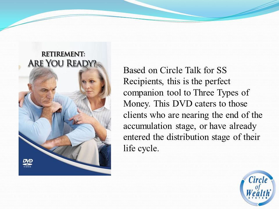 Based on Circle Talk for SS Recipients, this is the perfect companion tool to Three Types of Money. This DVD caters to those clients who are nearing t