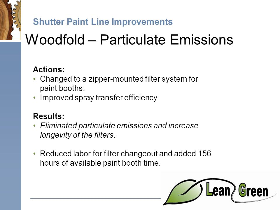 Shutter Paint Line Improvements Woodfold – Particulate Emissions Actions: Changed to a zipper-mounted filter system for paint booths.