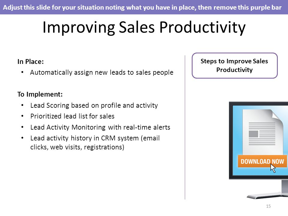 Improving Sales Productivity In Place: Automatically assign new leads to sales people To Implement: Lead Scoring based on profile and activity Prioritized lead list for sales Lead Activity Monitoring with real-time alerts Lead activity history in CRM system ( clicks, web visits, registrations) Adjust this slide for your situation noting what you have in place, then remove this purple bar 15 Steps to Improve Sales Productivity