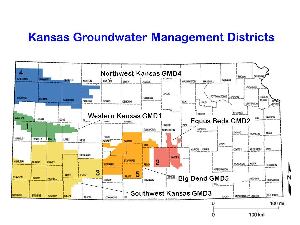 Kansas Groundwater Management Districts Equus Beds GMD2 Southwest Kansas GMD3 Western Kansas GMD1 Big Bend GMD5 Northwest Kansas GMD4