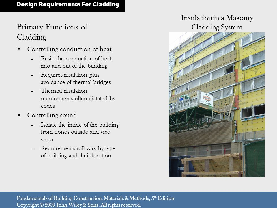 Primary Functions of Cladding Controlling conduction of heat –Resist the conduction of heat into and out of the building –Requires insulation plus avoidance of thermal bridges –Thermal insulation requirements often dictated by codes Controlling sound –Isolate the inside of the building from noises outside and vice versa –Requirements will vary by type of building and their location Design Requirements For Cladding Fundamentals of Building Construction, Materials & Methods, 5 th Edition Copyright © 2009 John Wiley & Sons.