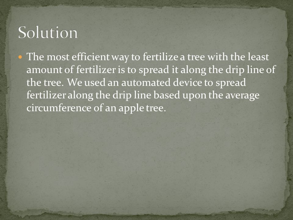 The most efficient way to fertilize a tree with the least amount of fertilizer is to spread it along the drip line of the tree.