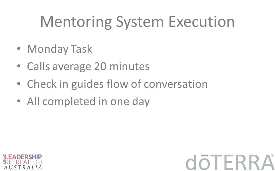 Mentoring System Execution Monday Task Calls average 20 minutes Check in guides flow of conversation All completed in one day