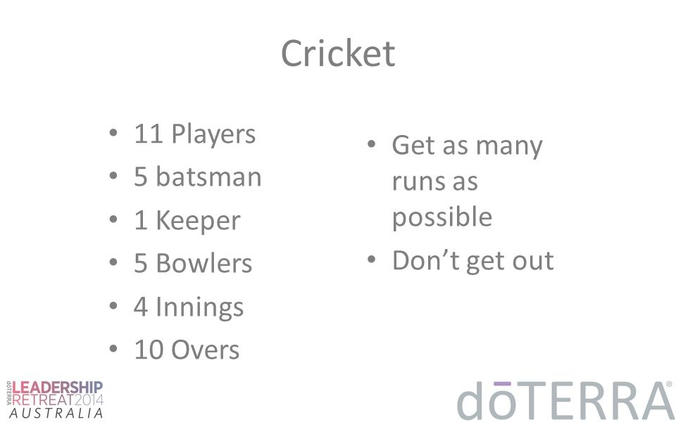 Cricket 11 Players 5 batsman 1 Keeper 5 Bowlers 4 Innings 10 Overs Get as many runs as possible Don't get out