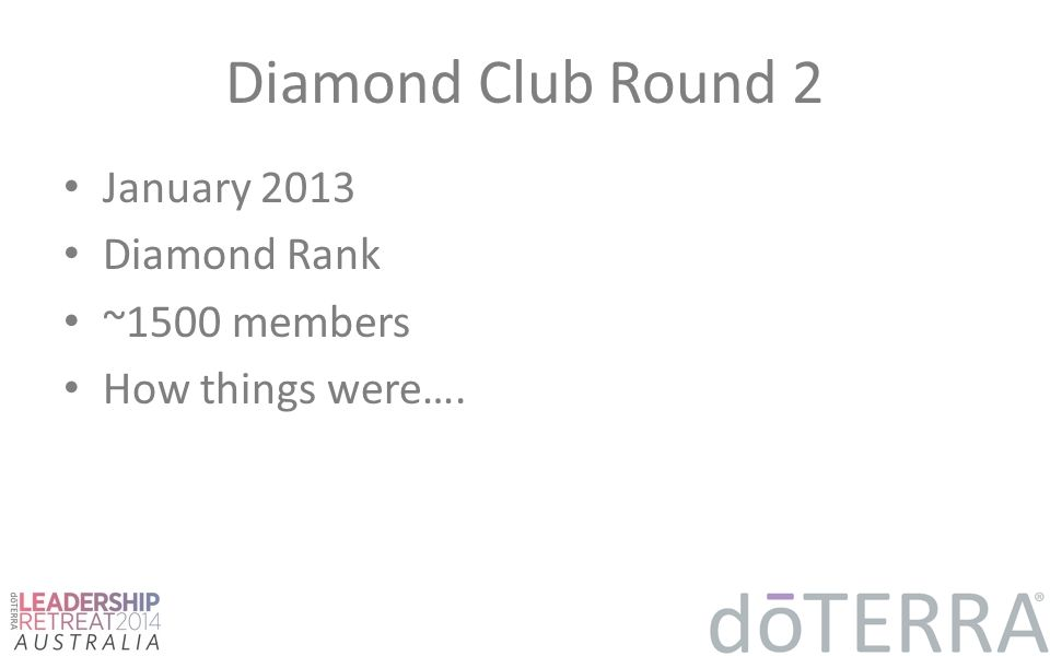 Diamond Club Round 2 January 2013 Diamond Rank ~1500 members How things were….