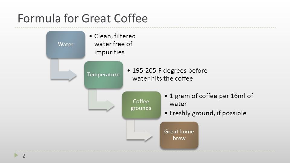 Formula for Great Coffee Water Clean, filtered water free of impurities Temperature 195-205 F degrees before water hits the coffee Coffee grounds 1 gram of coffee per 16ml of water Freshly ground, if possible Great home brew 2