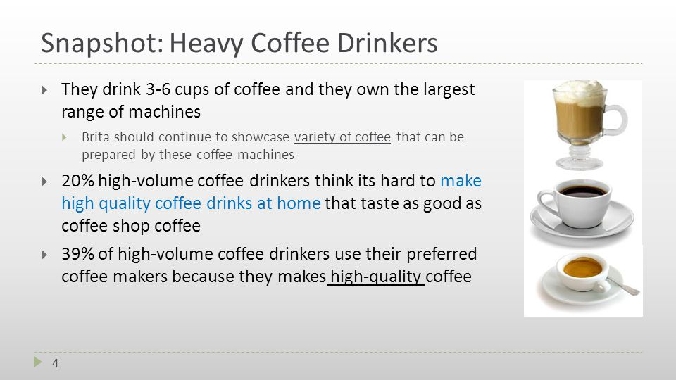 Snapshot: Heavy Coffee Drinkers  They drink 3-6 cups of coffee and they own the largest range of machines  Brita should continue to showcase variety of coffee that can be prepared by these coffee machines  20% high-volume coffee drinkers think its hard to make high quality coffee drinks at home that taste as good as coffee shop coffee  39% of high-volume coffee drinkers use their preferred coffee makers because they makes high-quality coffee 4
