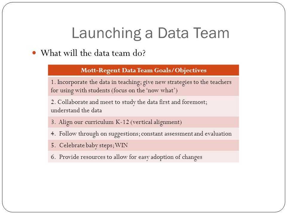 Launching a Data Team What will the data team do. Mott-Regent Data Team Goals/Objectives 1.