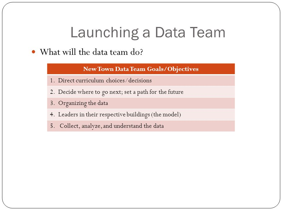 Launching a Data Team What will the data team do. New Town Data Team Goals/Objectives 1.