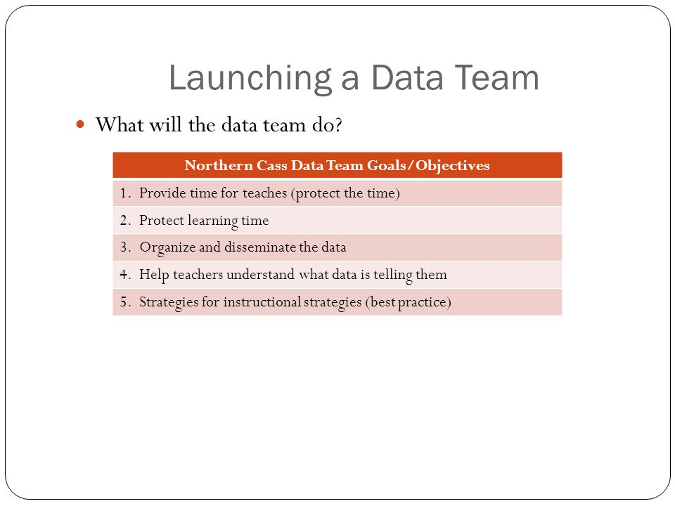 Launching a Data Team What will the data team do. Northern Cass Data Team Goals/Objectives 1.