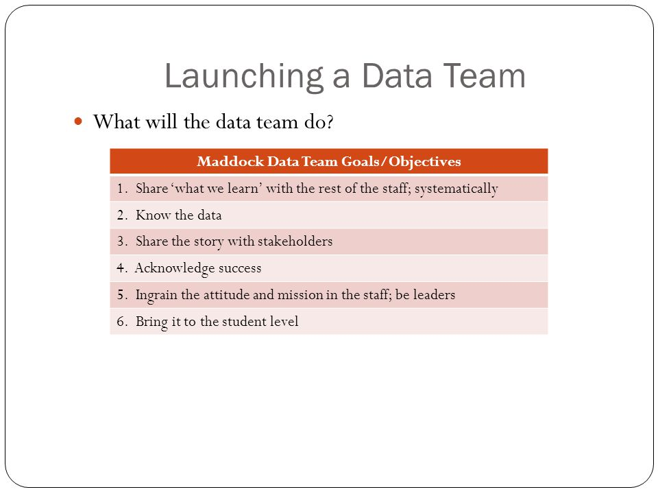 Launching a Data Team What will the data team do. Maddock Data Team Goals/Objectives 1.