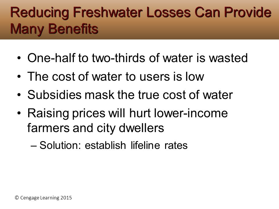 © Cengage Learning 2015 One-half to two-thirds of water is wasted The cost of water to users is low Subsidies mask the true cost of water Raising prices will hurt lower-income farmers and city dwellers –Solution: establish lifeline rates Reducing Freshwater Losses Can Provide Many Benefits