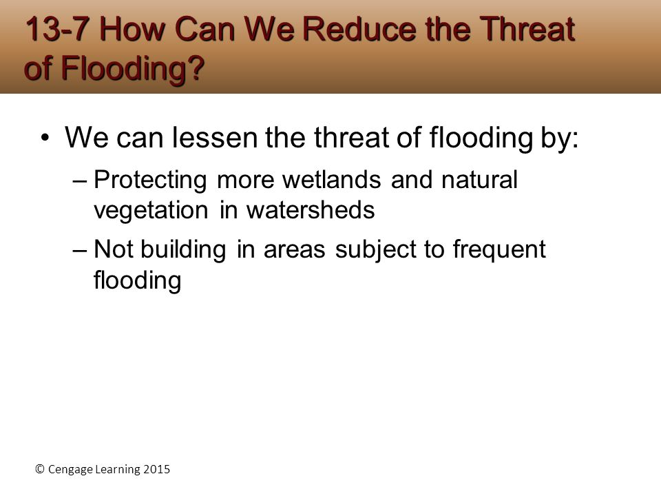 © Cengage Learning 2015 We can lessen the threat of flooding by: –Protecting more wetlands and natural vegetation in watersheds –Not building in areas subject to frequent flooding 13-7 How Can We Reduce the Threat of Flooding?