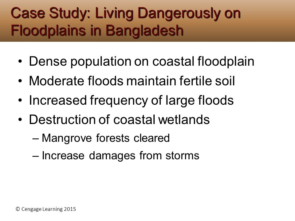 © Cengage Learning 2015 Dense population on coastal floodplain Moderate floods maintain fertile soil Increased frequency of large floods Destruction of coastal wetlands –Mangrove forests cleared –Increase damages from storms Case Study: Living Dangerously on Floodplains in Bangladesh